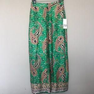 NWT Zara Paisley Wide Leg Pants